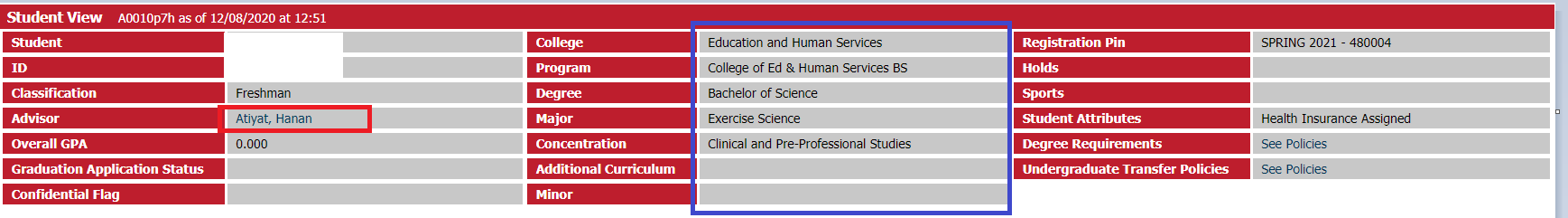 Screenshot of Degree Works and how to see if your major is correct.